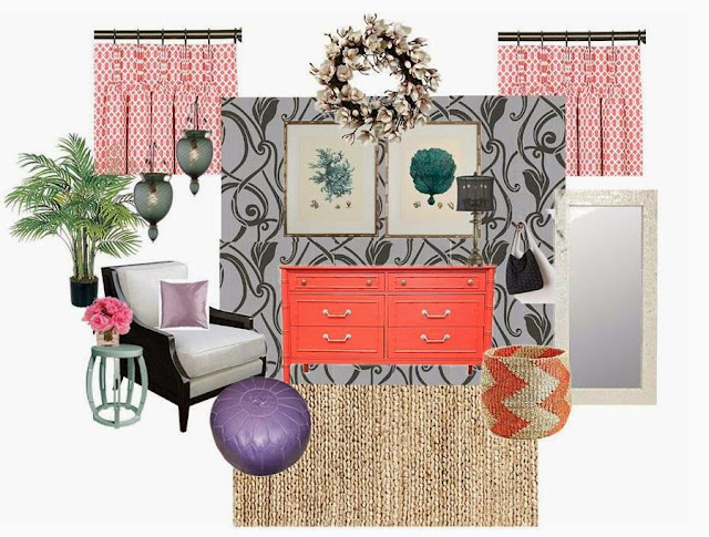 Coral pink, black and grey dressing area design