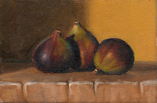 Oil painting of three figs on a block of wood.