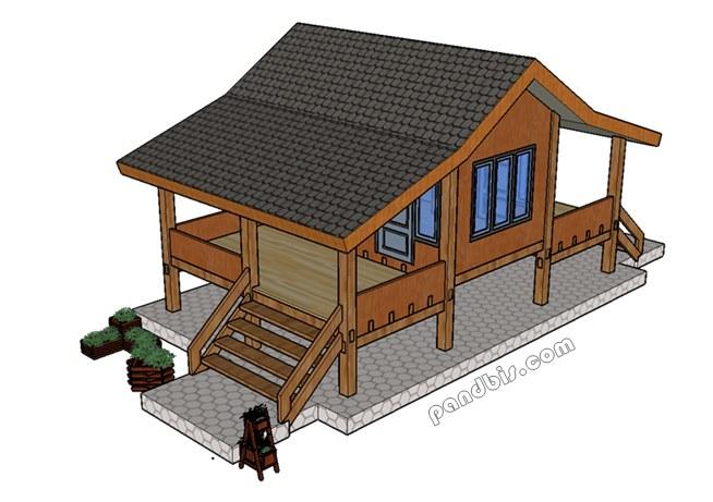 Gambar desain bentuk rumah kayu klasik