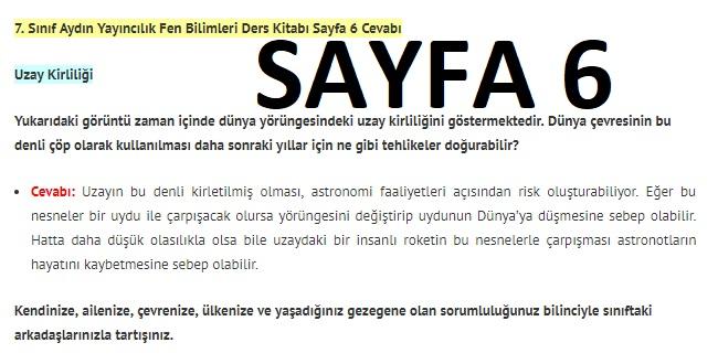 7. Sınıf Fen Bilimleri Ders Kitabı Cevapları Aydın Yayınları SAYFA 6