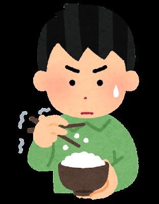箸でご飯を食べるのが下手な人のイラスト(男性)