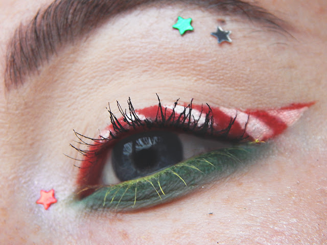 Candy Cane Inspired Holiday Makeup Look