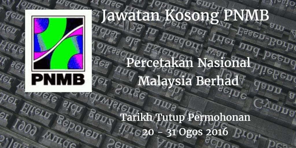 Jawatan Kosong PNMB 30 - 31 Ogos 2016