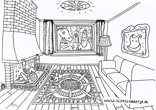 Slim Slabbetje Sinterklaas kleurplaat 2017