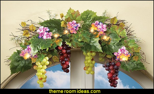Lighted Vineyard Grape Swag Tuscany Vineyard Style decorating - Tuscan Wall mural stickers - Tuscan themed kitchen accessories - grape decor - Tuscan theme decor - Wine barrel decor - rustic decor - Venice Italy decorating ideas - Italian Cafe - Old World furniture - luxury bedding - tuscan themed bedroom decor