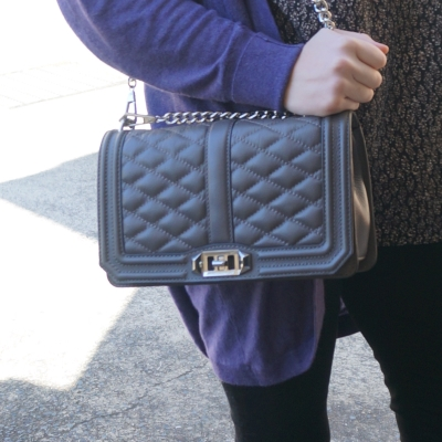 Away From Blue | Rebecca Minkoff charcoal grey quilted Love cross body bag purple cardi