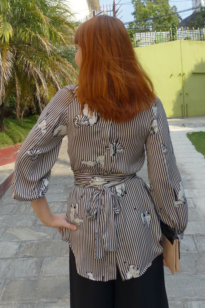 cats and stripes back button down blouse with sash belt