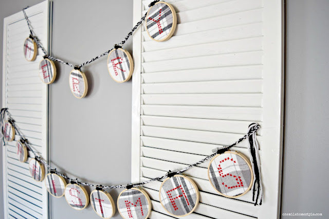 Black, white and red Merry Christmas cross stitch garland