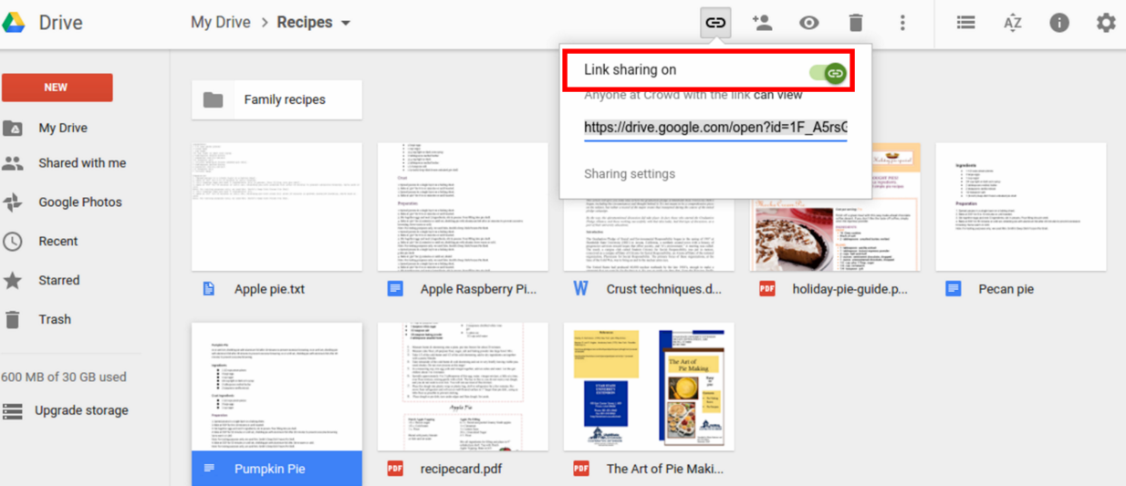 how to create sharable links in google