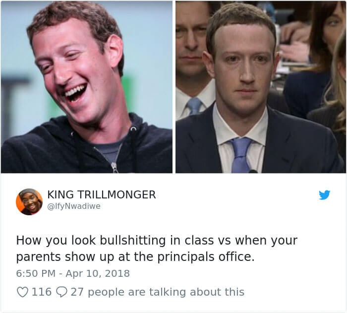 30 Hilarious Tweets Show The World's Reaction To Mark Zuckerberg's Testimony