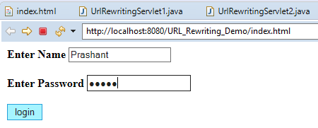 URL Rewriting in Servlet