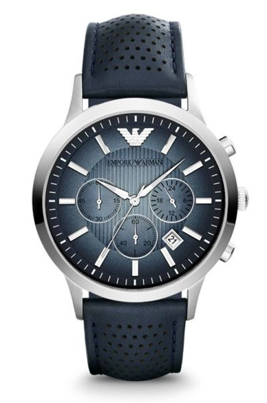 Emporio Armani Mens Stainless Steel and Leather Renato Watch