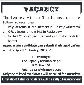 Physiotherapist and Radio technician vacancy at Leprosy mission nepal