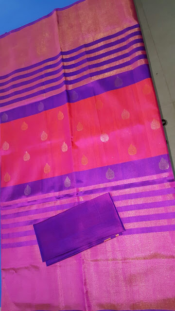 Uppada Jamdani red with blue color silk saree