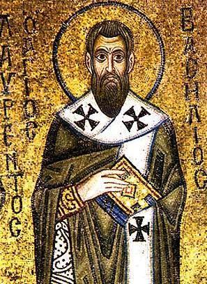 Ilustración de San Basilio con los ojos bien abiertos