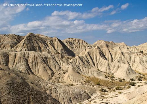 Eroded landforms in Toadstool Geologic Park, Nebraska