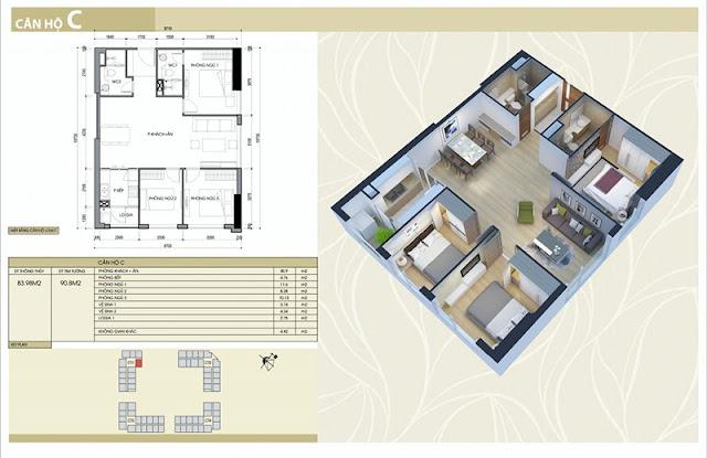 Thiết kế căn hộ C chung cư Eco Green City Nguyễn Xiển