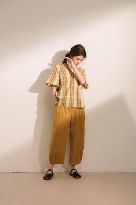 借物生活V領格紋美背上衣-黃格紋