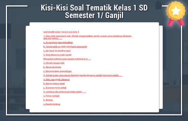 Kisi-Kisi Soal Tematik Kelas 1 SD Semester 1 Kurikulum 2013