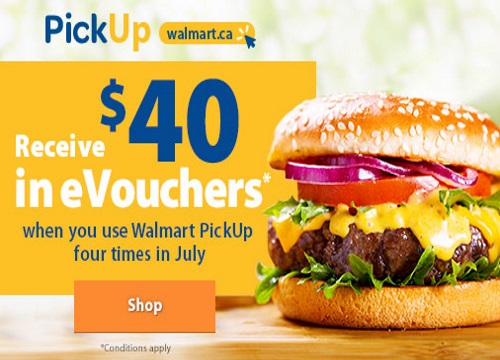 Walmart Pickup Receive $40 Free eVouchers