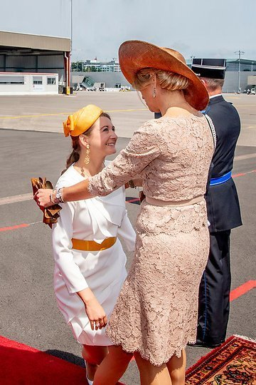 Hereditary Grand Duke Guillaume and Hereditary Grand Duchess Stéphanie attended the farewell ceremony