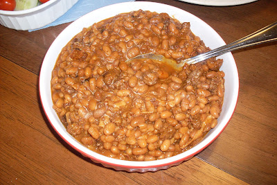 Western Style Baked Beans, with three meats and zesty seasonings.
