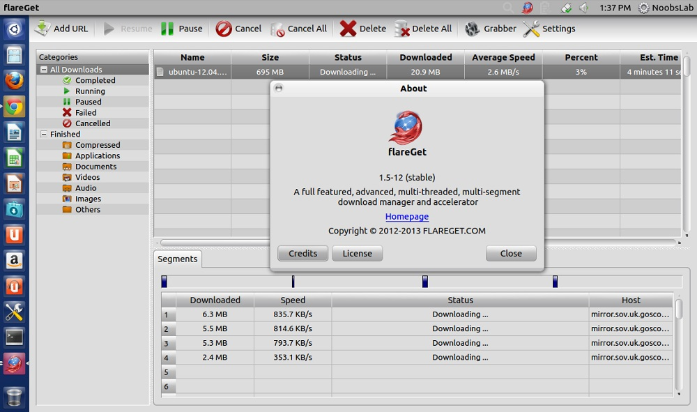 flareGet and uGet Download Managers for Ubuntu/Linux Mint/Other