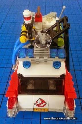 The LEGO Ghostbusters Ecto-1 vehicle and Minifigures set 21108 vehicle rear view
