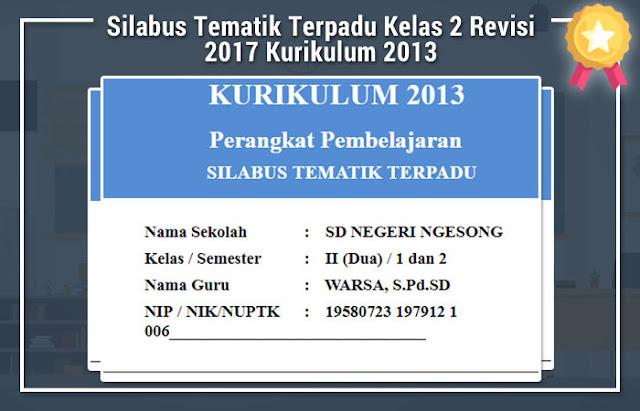 Silabus Tematik Terpadu Kelas 2 Revisi 2017 Kurikulum 2013