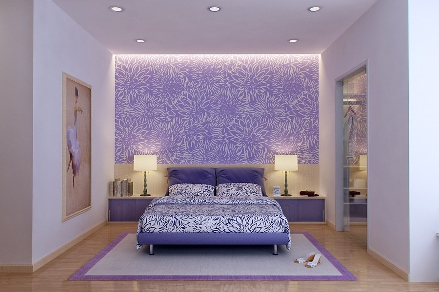 25 relaxing paint color combinations for living room and for Purple bedroom designs modern