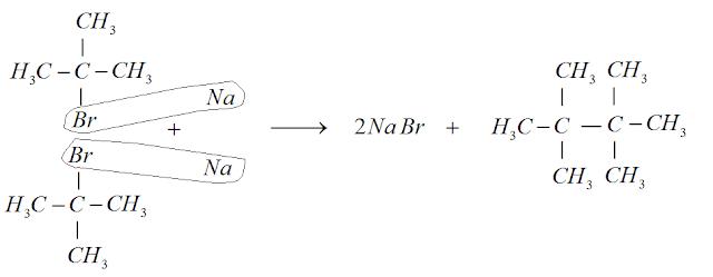 sintese wurtz 2-bromo-metilpropano brometo sodio tetrametilbutano