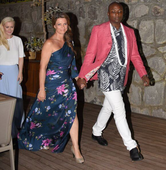 Princess Martha Louise wore a new floral print maxi gown by Jill Stuart. Princess Martha Louise and Shaman Durek attended a dinner at Rebis Hotel
