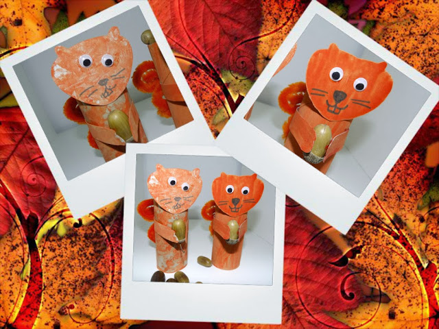 Squirrel toilet roll craft for toddlers and preschoolers.