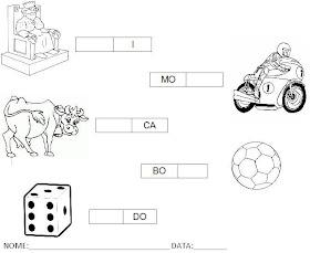 Atividade para Alfabetização - Complete a palavra com a sílaba 8