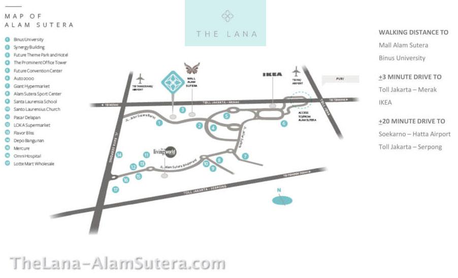 Peta Lokasi The Lana Alam Sutera