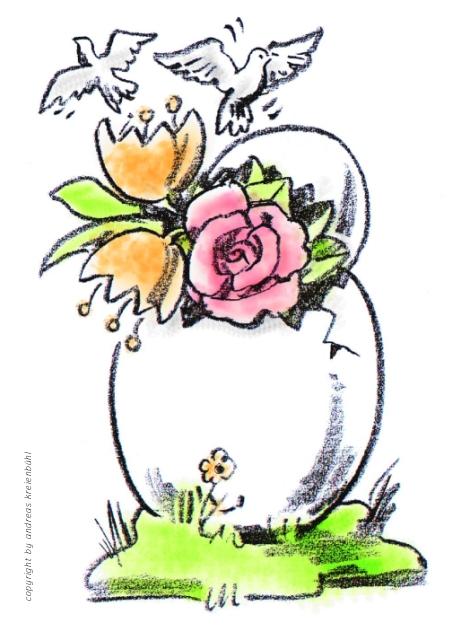 Aus dem Osterei kommt der Frühling