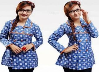 Model Baju Batik Kerja Wanita Modern 2018