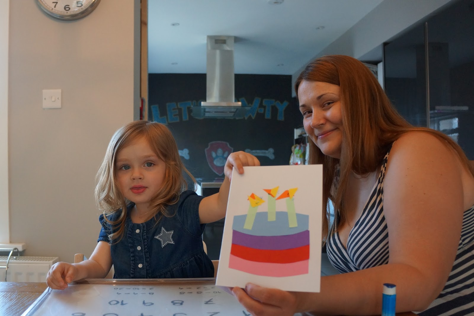 showing a toddler craft birthday card design