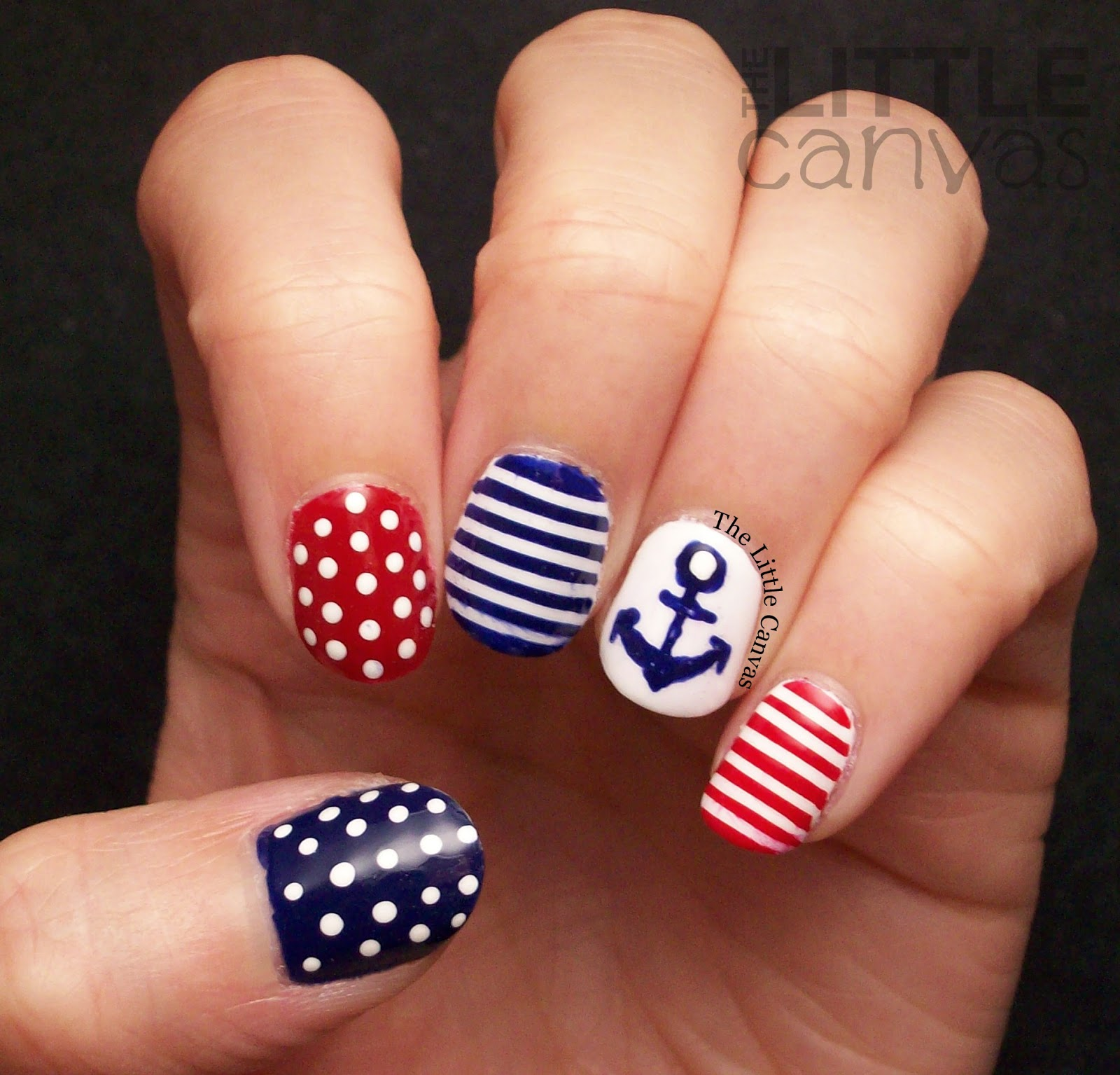 Let S Talk Nail Art: Twinsie Tuesday: Stripes: Nautical Nail Art