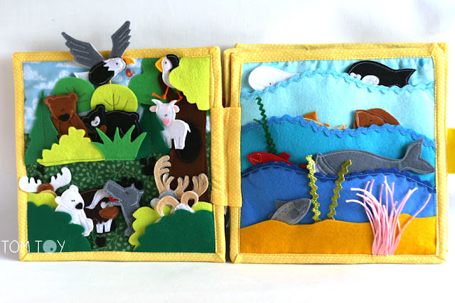 Handmade quiet book for Madelyn, felt activity busy book for toddlers. Forest and sea animals page. Развивающая книжка, лесные и морские животные