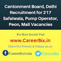 Cantonment Board, Delhi Recruitment for 217 Safaiwala, Pump Operator, Peon, Mali Vacancies