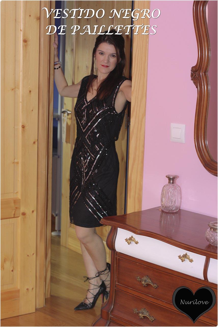 vestido negro de paillettes, un look ideal para un evento o celebración