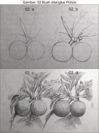 teknik menggambar buah ditangkai pohon