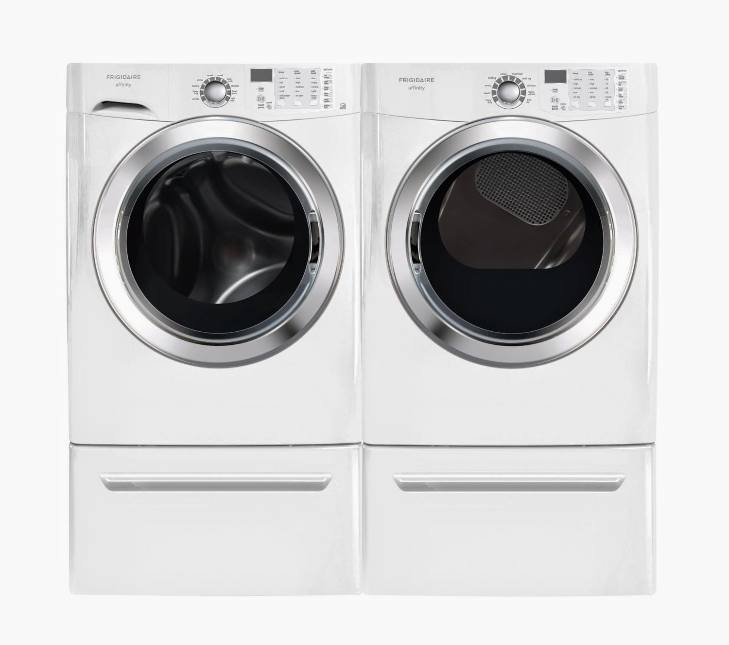 Frigidaire 3 8 Cf Front Load Steam Washer And 7 0 Dryer Laundry Set With Pedestals