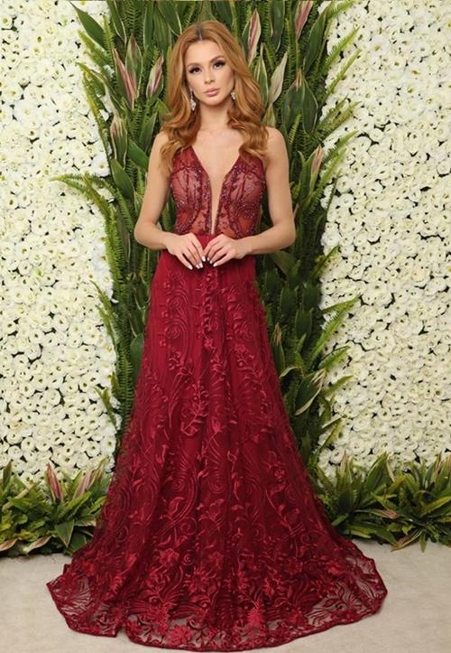 vestido de festa marsala renda