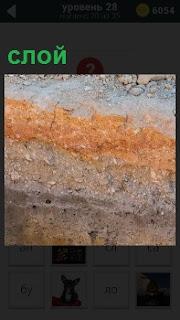 На стене показаны различные слои, из чего состоит и какого цвета каждый слой