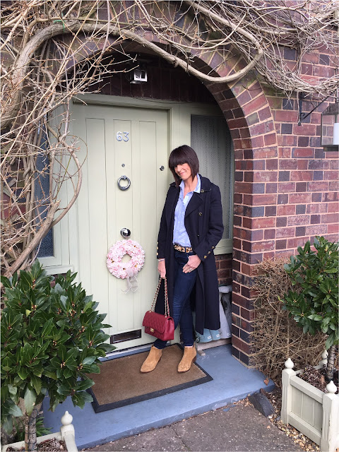 My Midlife Fashion, Wallis W Collection Military coat, ladies leather quilted bag, leopard print belt, zara skinny jeans, Zara cowboy heeled ankle boots