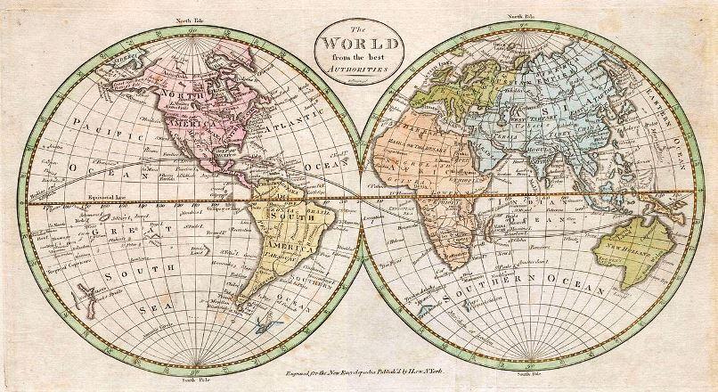 mapa mundial em estilo vintage