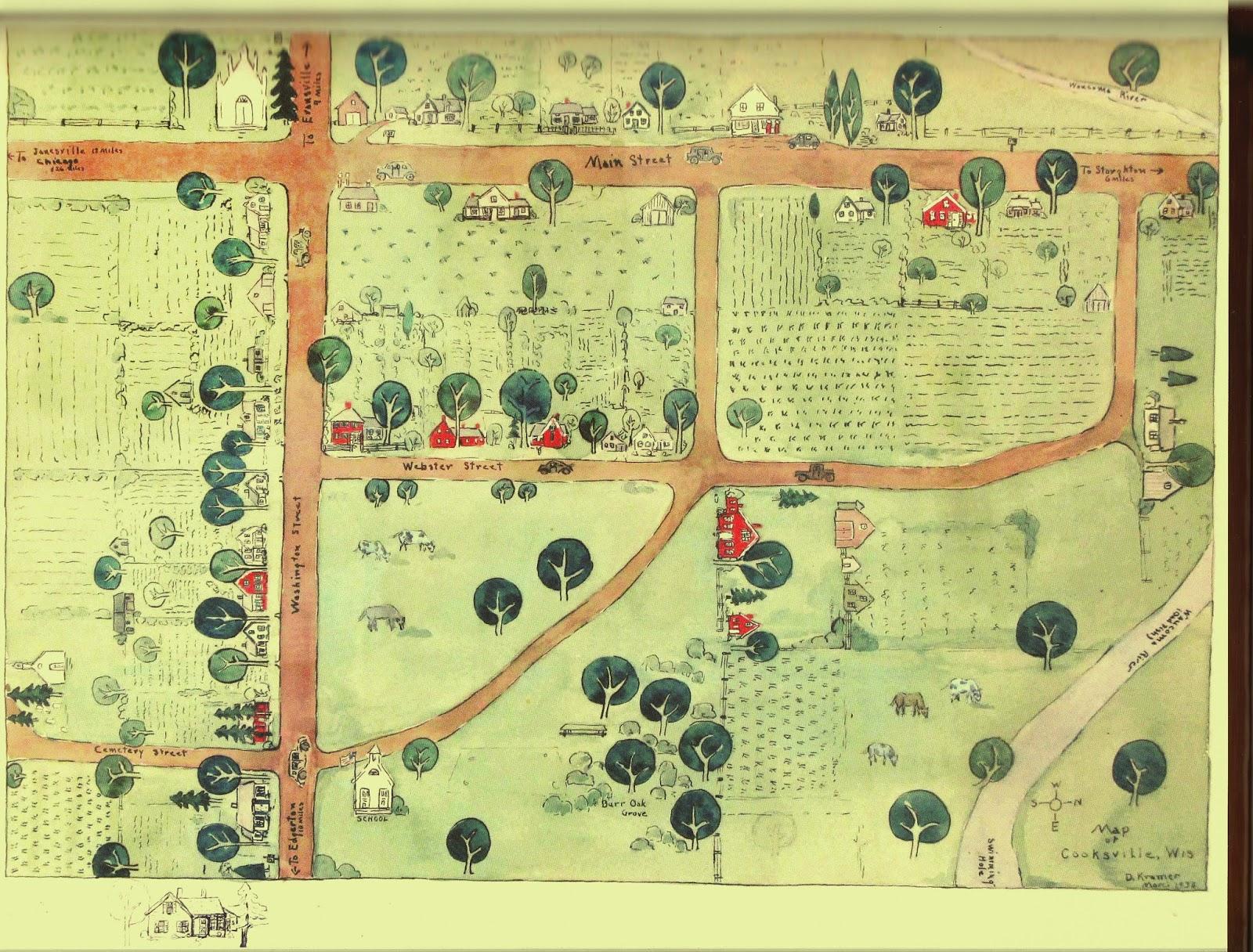 map of cooksville by dorothy kramer 1938