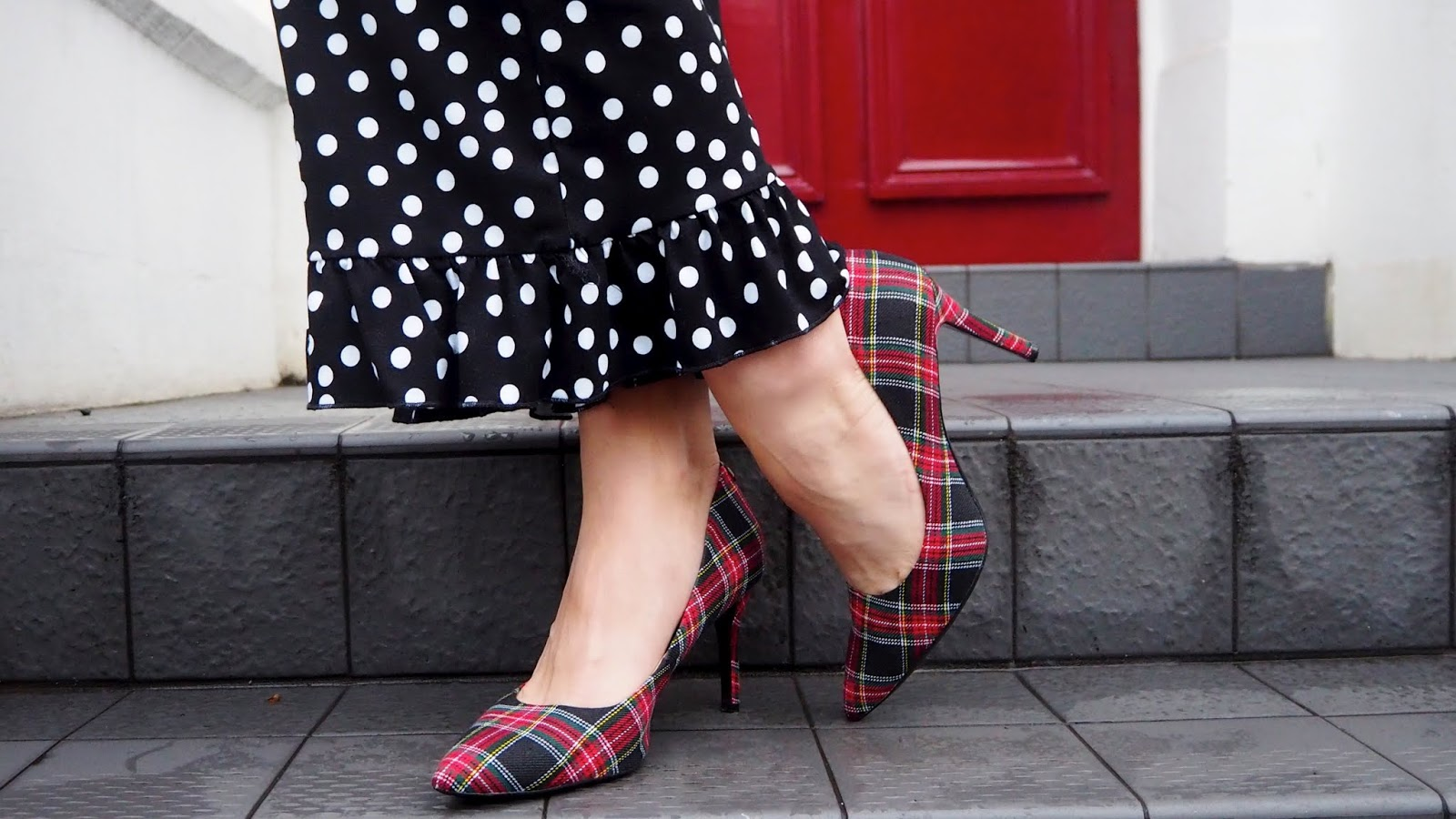 Polka dot ruffle trousers with red plaid shoes